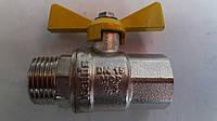 Кран газ шаровый Kalde (гайка-штуцер) ∅1/2'' бабочка