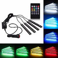 LED подсветка c пультом управления для авто, дома, разноцветная