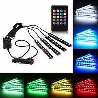 LED подсветка салона авто цветомузыка c пультом разноцветная