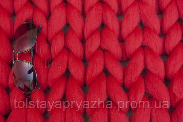 Шерсть для пледа (толстая пряжа) серия Кросс, цвет помада, фото 2