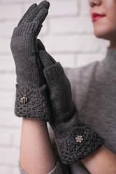 Женские трикотажные перчатки с вязаной митенкой, цвет темно-серый.