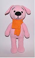 Вязаная мягкая игрушка розовая собачка
