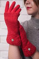 Женские трикотажные перчатки с вязаной митенкой, цвет красный.