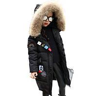 Зимний натуральный пуховик для девочки. Размеры 120-160.