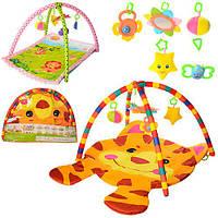 Коврик для младенца PM406-416  дуга2шт,подвески5шт,2вид(100-74см,84-64см),в сумке,79-57-7см