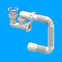 """Cіфон """"FLAT steamer"""" для душових піддонів (нержавіючий випуск 1 1/2) з гибкою трубою 40*50"""