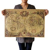 Старинная карта мира: глобус полушария! Карта на пергаменте!