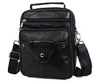 Практичная мужская кожаная сумка-барсетка через плечо черная