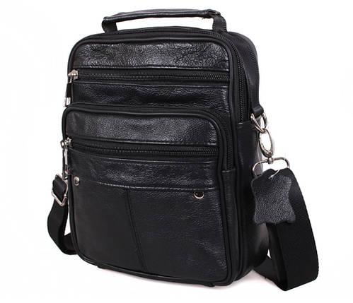 9c81d3c29e6b Удобная мужская кожаная сумка-барсетка через плечо черная купить в ...