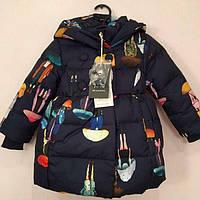 Зимний натуральный пуховик для девочки. Размеры 92-116.