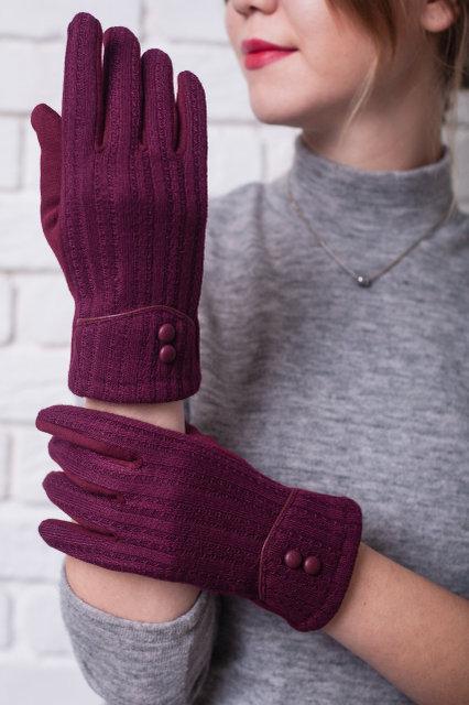 Жіночі трикотажні рукавички в комбінації з в'язкою, колір бордовий.