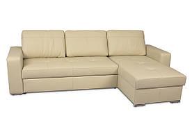 Угловой кожаный раскладной диван FX10 B1, бежевый (269 см) (3 цвета в наличии)