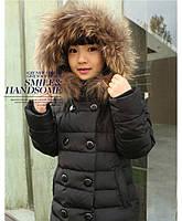 Зимний натуральный пуховик для девочки. Размеры 110-150.