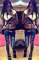"""Женское короткое пальто из кашемира с меховым воротником """"Хип Хоп"""""""