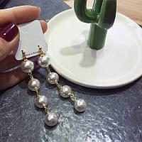Серьги с жемчугом ювелирная бижутерия позолота 1750к-а