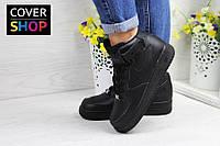 Кроссовки женские Nike Air Force, цвет - черный, натуральная кожа