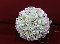 Свадебный букет-дублер розовый с бежевым из роз