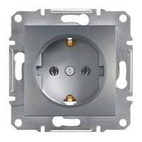 Розетка с заземляющими контактами и шторками сталь Schneider asfora EPH2900262