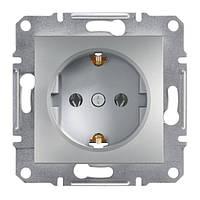 Розетка с заземляющими контактами и шторками алюминий Schneider asfora EPH2900261