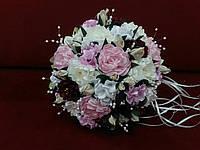 Свадебный букет-дублер бордовый с розовым, бежевым и белым