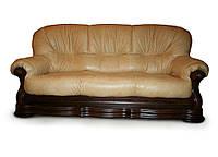 Кожаный трехместный диван Senator, бежевый (230 см)