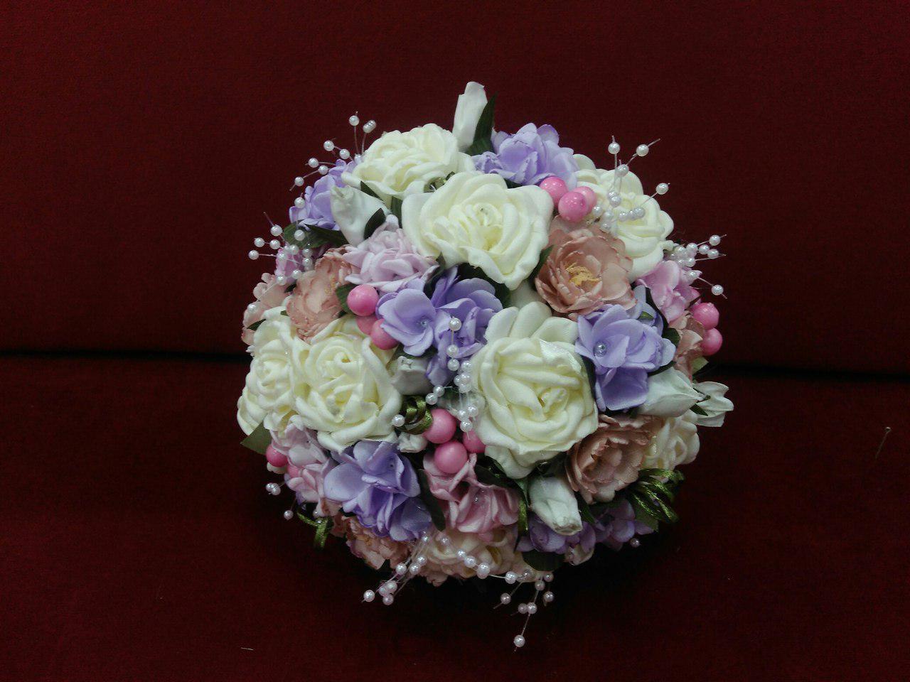 Свадебный букет-дублер бежевый с розовым и сиреневым