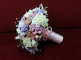 Весільний букет-дублер бежевий з рожевим і бузковим, фото 2