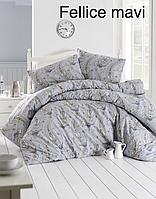 Полуторный постельный комплект  Altinbasak Fellice mavi