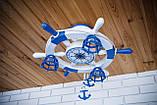 Люстра штурвал деревянная белая на 3 лампочки в морском стиле с компасом, фото 5