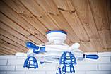 Люстра штурвал деревянная белая на 3 лампочки в морском стиле с компасом, фото 7