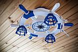 Люстра штурвал деревянная белая на 3 лампочки в морском стиле с компасом, фото 9