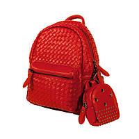 Кожаный женский рюкзак-портфель ярко-красного цвета , в наборе кошелек-косметичка!