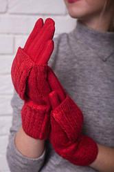 Женские перчатки с накидной варежкой (3в1), цвет красный.