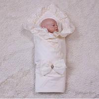 Летний конверт для новорожденных Гербера (айвори)