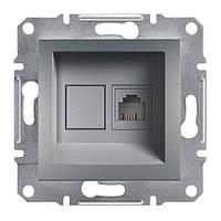 Розетка компьютерная сталь 1XRJ45 schneider asfora EPH4300162
