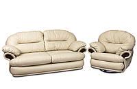 Комплект кожаной мебели Орландо: раскладной диван+кресло, бежевый (3 расцветки в наличии)