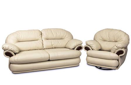 Кожаный комплект мебели Орландо без реклайнера, мягкая мебель, мебель в коже, кожаная мебель, комплект мебели, фото 2