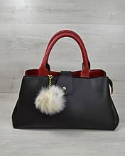 Молодежная сумка Альба черная с красным