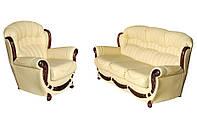 """Раскладной кожаный диван в комплекте с креслом """"Джове"""" (2 цвета в наличии)"""