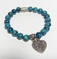 Браслет Яшма с подвеской, натуральный камень, цвет синий и его оттенки