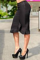 """Черная офисная юбка """"Сабрина"""" с оборкой и пикантным разрезом  42-52р"""