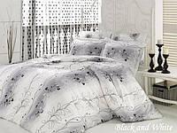 Комплект постельного белья евро Mariposa Satin Deluxe Бамбук Black and white