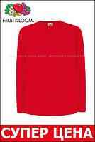 Детская Футболка С Длинным Рукавом Fruit of the loom Красный 61-007-40 9-11