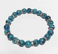 Браслет Яшма, натуральный камень, цвет синий и его оттенки