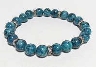 Браслет с Яшмой, натуральный камень, цвет синий и его оттенки
