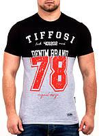 Двухцветная мужская футболка высокого качества