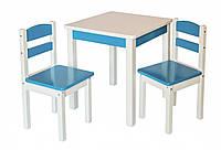 """Детская мебель из натурального дерева. Комплект стол и два стула """"Юниор"""""""