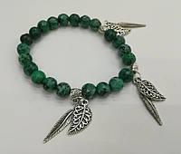 Браслет с Яшмой, натуральный камень, цвет зеленый и его оттенки