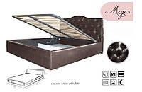Кровать Медея 160х200 двуспальная кожаная с мягким изголовьем