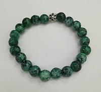 Браслет Яшма, натуральный камень, цвет зеленый и его оттенки